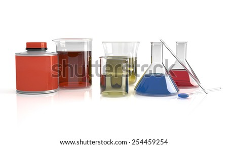Glass conical flask filled with amber colored chemical liquid with glassware equipment in fog for a chemistry experiment in a science research lab - stock photo