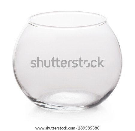 Glass container round shape isolated on white background. - stock photo