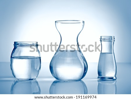Glass containers containing water