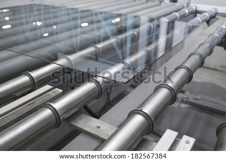 Glass conveyor line - stock photo