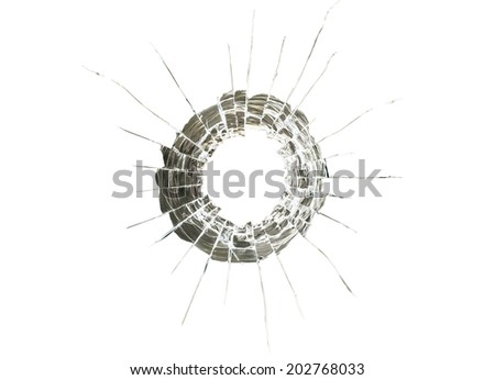 glass cracked by bullet impacts, isolated on white