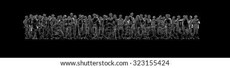 Glass crowd panorama / 3D render of pedestrian crowd made of glass - stock photo