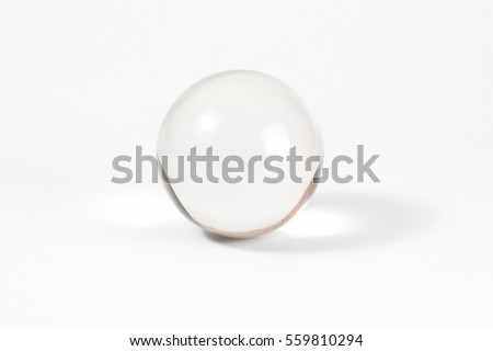 Glass Crystal Ball on plain white background