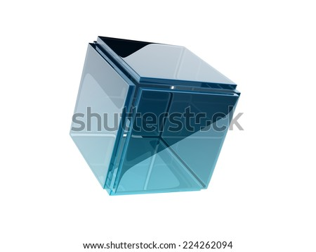 glass cube composed by smaller glass squares. - stock photo