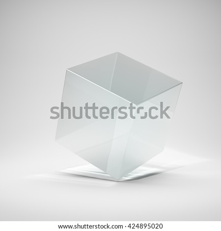 Glass cube in bright glow. 3D illustration. - stock photo