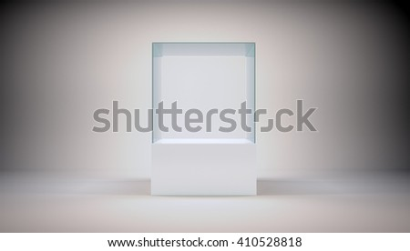 Glass cube on podium on abstract grey background. 3D rendering - stock photo