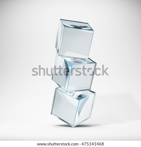 Glass cubes in stack. 3D illustration.