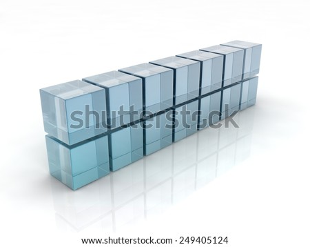 glass cubes on white background. digitally generated image - stock photo