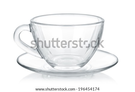 Glass cup and saucer isolated on white background