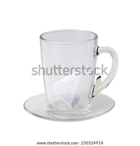 glass cup and saucer with tea bag on white background