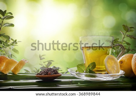 Glass cup green tea with mint and lemon on bamboo in nature scene. Horizontal composition. Front view. - stock photo