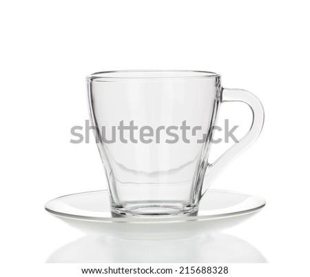 Glass cup isolated on a white background closeup - stock photo
