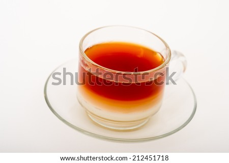 Glass cup of black tea. Isolated on white background,a cup of tea with milk