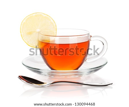 Glass cup of black tea with lemon slice and spoon. Isolated on white background - stock photo