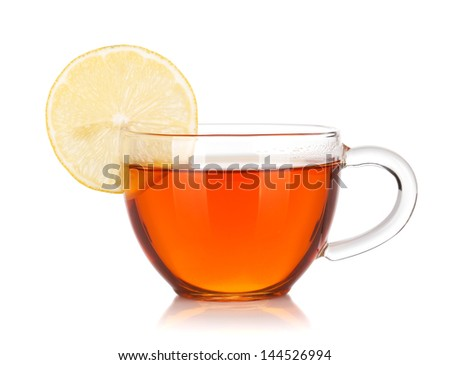 Glass cup of black tea with lemon slice. Isolated on white background - stock photo