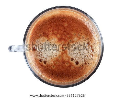 Glass cup of espresso coffee top view close-up photography. - stock photo