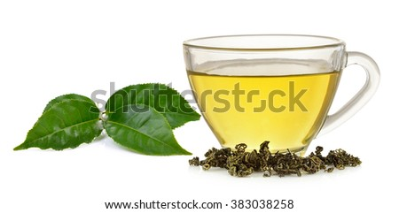 Glass cup of  green tea and mint isolated on white background