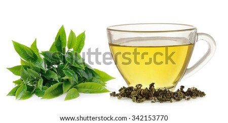 Glass cup of  green tea isolated on white background