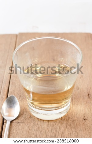 Glass cup of herb tea