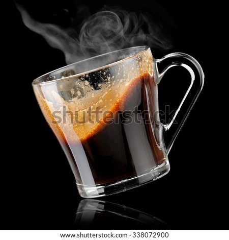Glass cup of hot coffee plash - stock photo