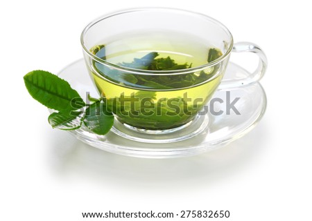 glass cup of Japanese green tea isolated on white background - stock photo