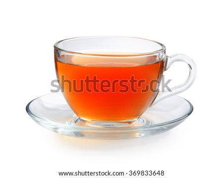 Glass cup of tea isolated on a white background with clipping path. Front view. - stock photo