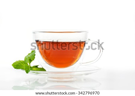 Glass cup of tea with a saucer and leaves of mint on a white background.