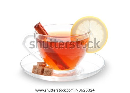Glass cup of tea with white background - stock photo