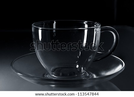 glass cup on a glass saucer