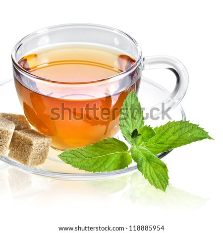 Glass Cup Tea with Mint Leaf, Isolated on White Background