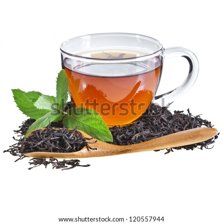 Glass Cup Tea with Mint Leaf, Isolated on White Background. - stock photo