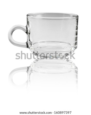 Glass cup with handle isolated on white background