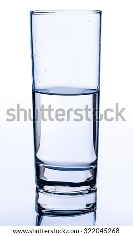 Glass cup with water is isolated on white background. - stock photo