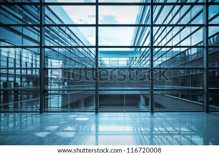 glass curtain wall and window in a modern  building - stock photo