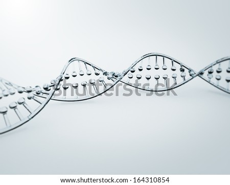 Glass 3d model of an double helix DNA strand - stock photo