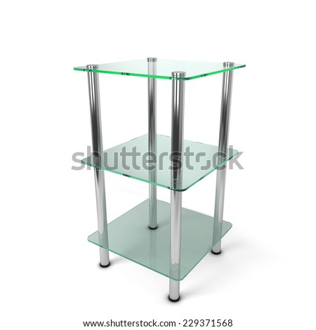 Glass display. 3d illustration isolated on white background  - stock photo