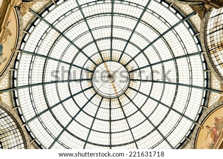 Glass dome of Galleria Vittorio Emanuele in Milan, Italy  - stock photo