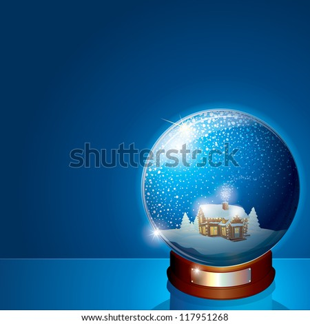 Glass Dome with Christmas Scene. Wooden House and Pine Forest on Winter Landscape. Illustration for your Christmas or New Years Greeting Card - stock photo
