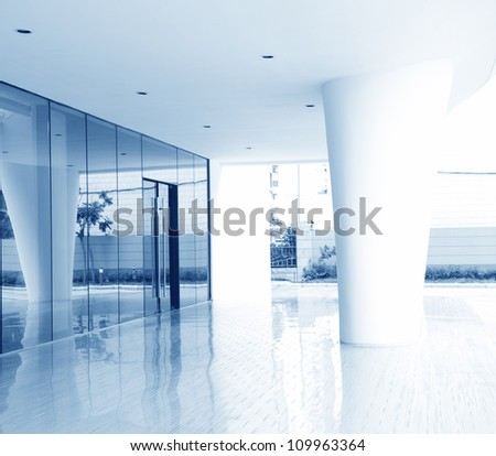 glass door of the office building. - stock photo