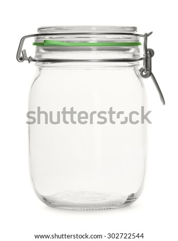 Glass empty threaded jar on a white background