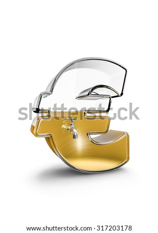Glass euro / 3D render of glass euro symbol with tap filled with liquid gold - stock photo