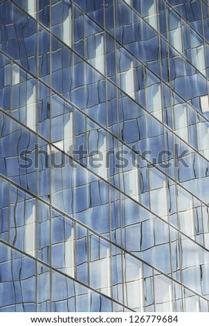Glass facade of a modern office building