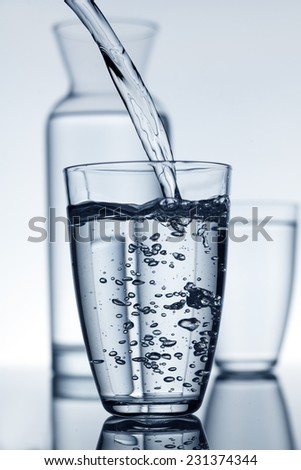 glass fill with water and a carafe in the background