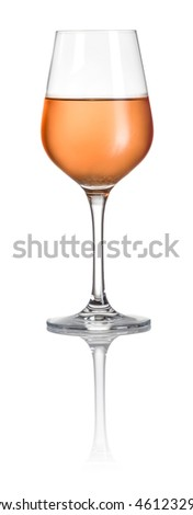 Glass filled with rose wine on a white background