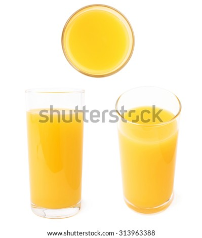 Glass filled with the orange juice isolated over the white background, set of different foreshortenings - stock photo