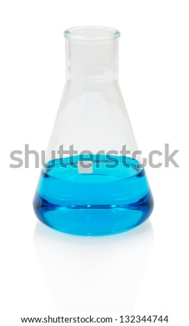 Glass flask with the liquid, isolated on white - stock photo