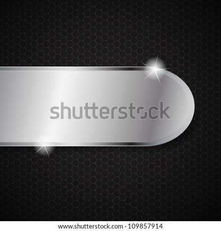 Glass frame on abstract metal background.  raster version illustration.