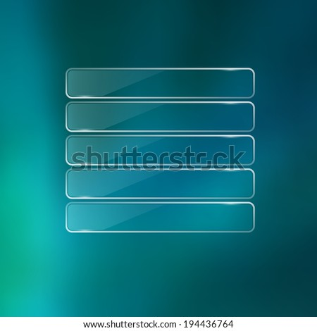 Glass frame on blurred unfocus background. Web interface.