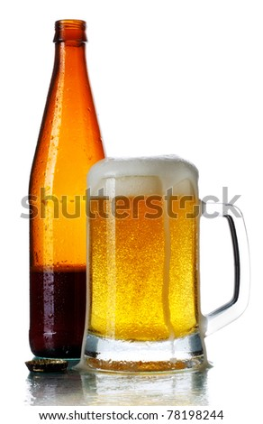 glass full of dark beer and bottle, isolated on white