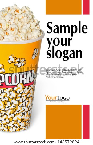 glass full with popcorn of corn, with example texts     - stock photo